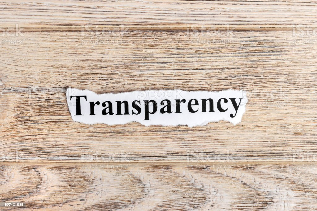 Transparency text on paper. Word Transparency on torn paper. Concept Image stock photo