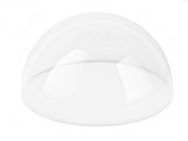 transparent 3d dome isolated over white background, - kubbe stok fotoğraflar ve resimler