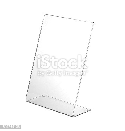 istock Transparent acrylic table stand display for menu isolated, white background 619744106
