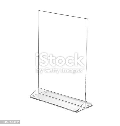 istock Transparent acrylic table stand display for menu isolated, white background 619744122