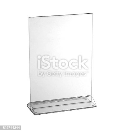istock Transparent acrylic table stand display for menu isolated, white background 619744344
