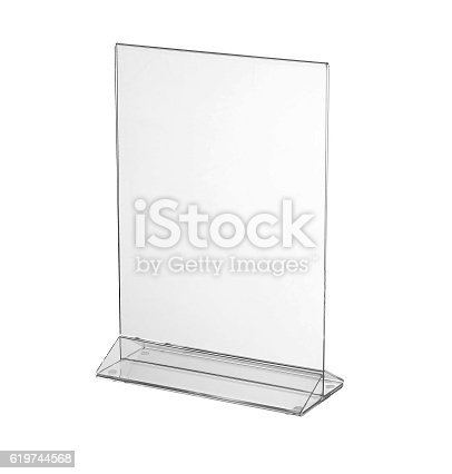 istock Transparent acrylic table stand display for menu isolated, white background 619744568