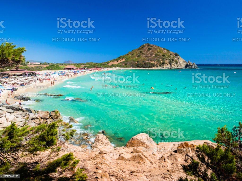 Transparent and turquoise sea in Cala Sinzias, Villasimius. stock photo