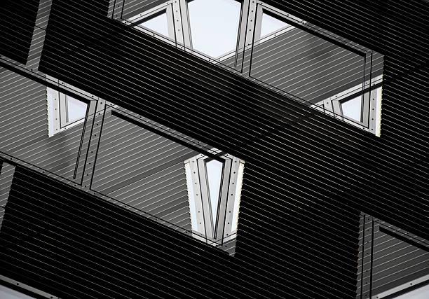 transparent architecture. double exposure photo of windows on louvered wall. - com portada imagens e fotografias de stock