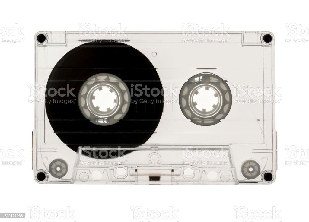 Transparent audio cassette isolated on white background stock photo
