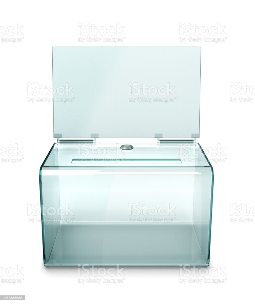 transparent ballot box, isolated on white background. 3d illustration royalty-free stock photo