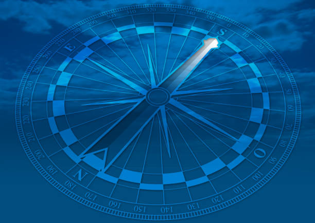 transparent blue compass with white arrow indicating south direction - alejomiranda stock pictures, royalty-free photos & images