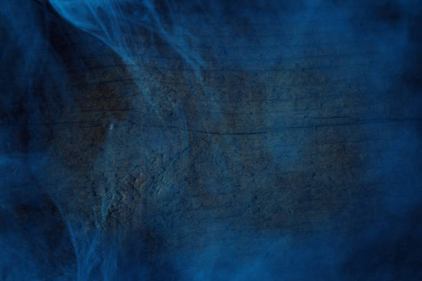 transparent blue fog covers forest wood close-up mysterious night abstraction background for design stock photo