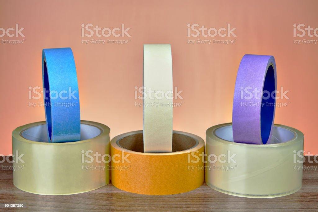 Fita de papel transparente BOPP adesiva embalagem fita e mascaramento colorido. - Foto de stock de Abundância royalty-free