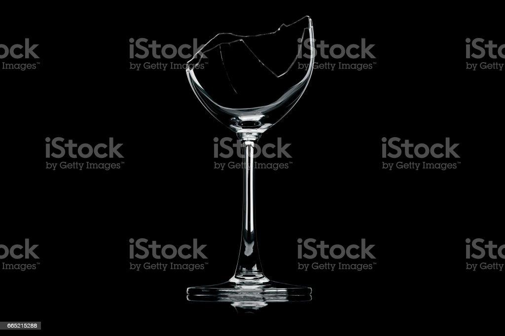 transparent broken wineglass stock photo