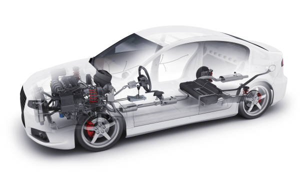 transparent car and interior parts Transparent car and spare and engine and other detail. 3d illustration vehicle part stock pictures, royalty-free photos & images