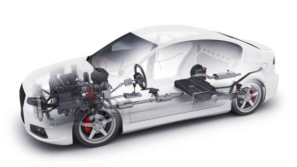 transparent car and interior parts stock photo