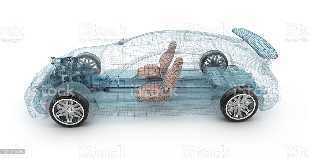 Transparent car design, wire model.3D illustration. My own car design. stock photo