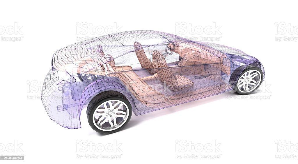 Transparent Car Design Wire Model3d Illustration Stock Photo & More ...