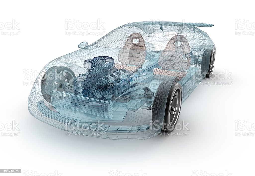 Transparent car design, wire model.3D illustration. stock photo