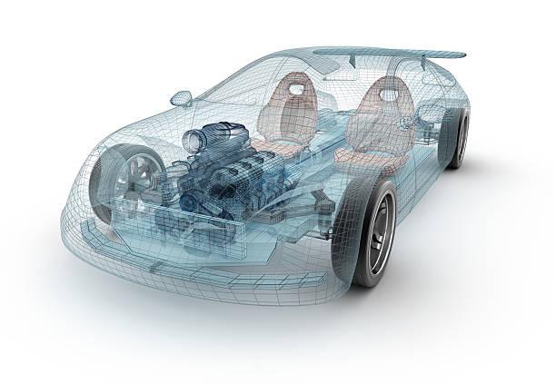 Transparent car design, wire model.3D illustration. stock photo