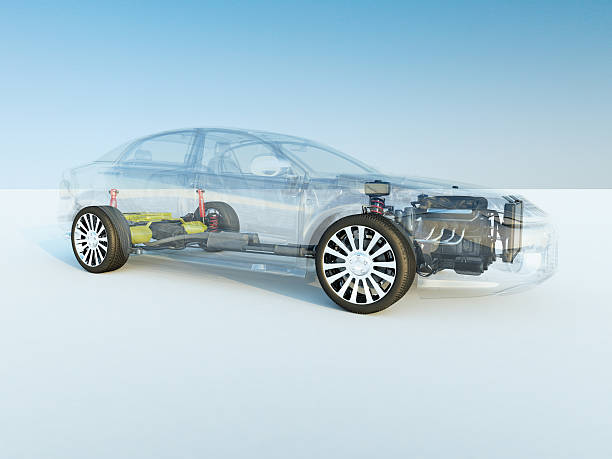 Transparent car X-Ray car. computer generated image.. hybrid car stock pictures, royalty-free photos & images