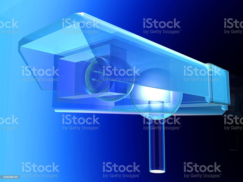 Transparent CCTV Surveillance cam stock photo