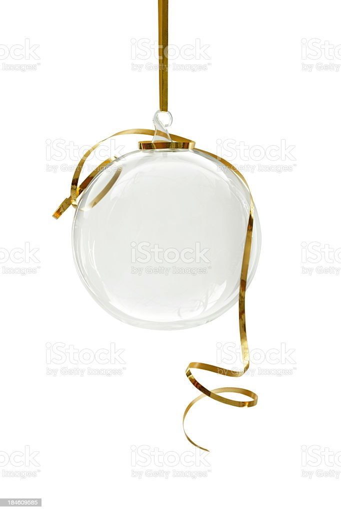 Transparent Christmas ornament hanging on a white background royalty-free stock photo