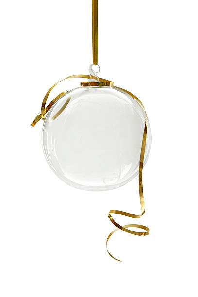 Transparent Christmas ornament hanging on a white background stock photo
