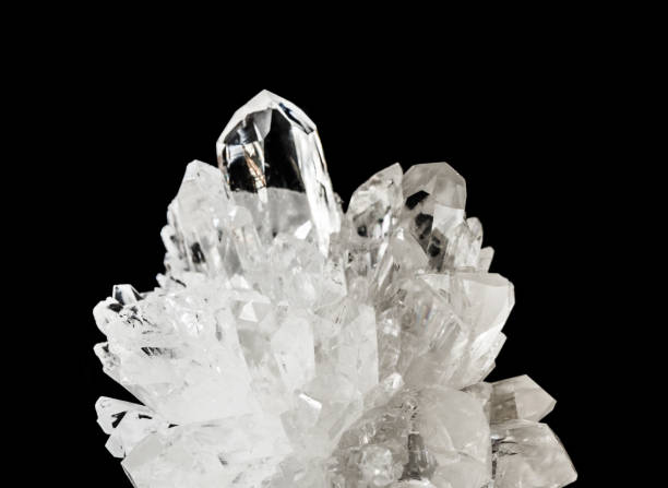 Transparent crystals of rock crystal stock photo
