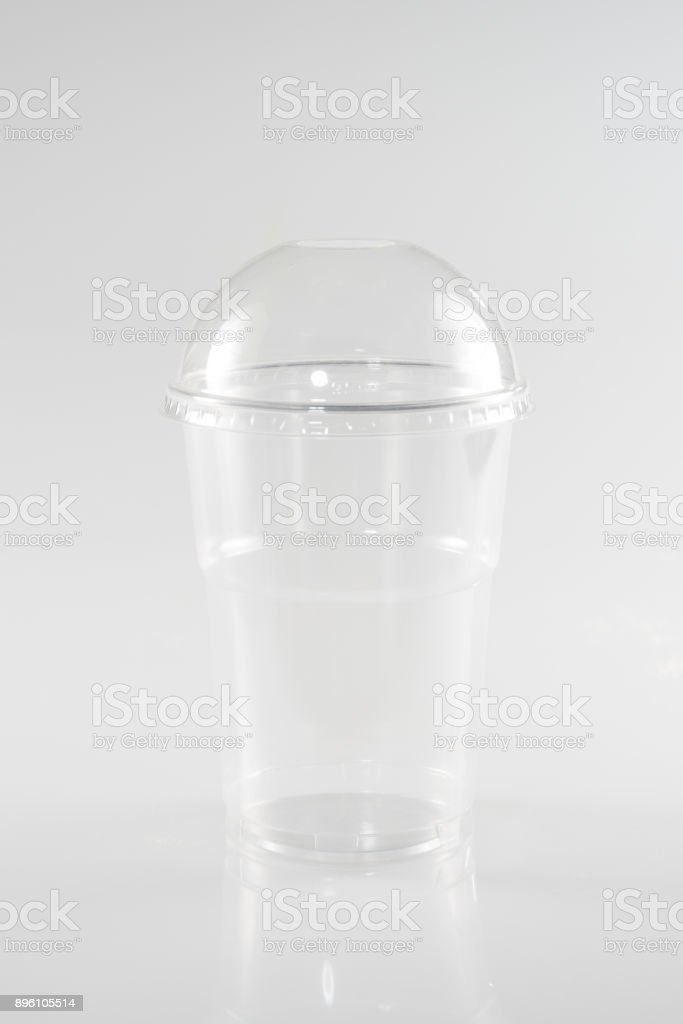 transparent cup for ice cream or a salad from a snack or takeaway togo stock photo