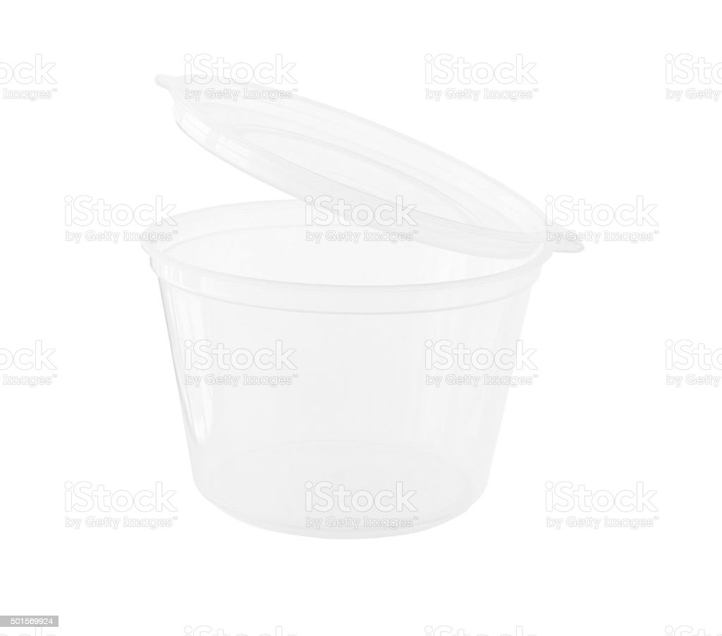 Transparent cup with fixed Lid isolated on white background stock photo