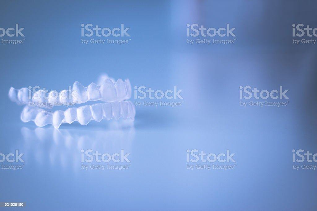 Transparent dental orthodontics stock photo