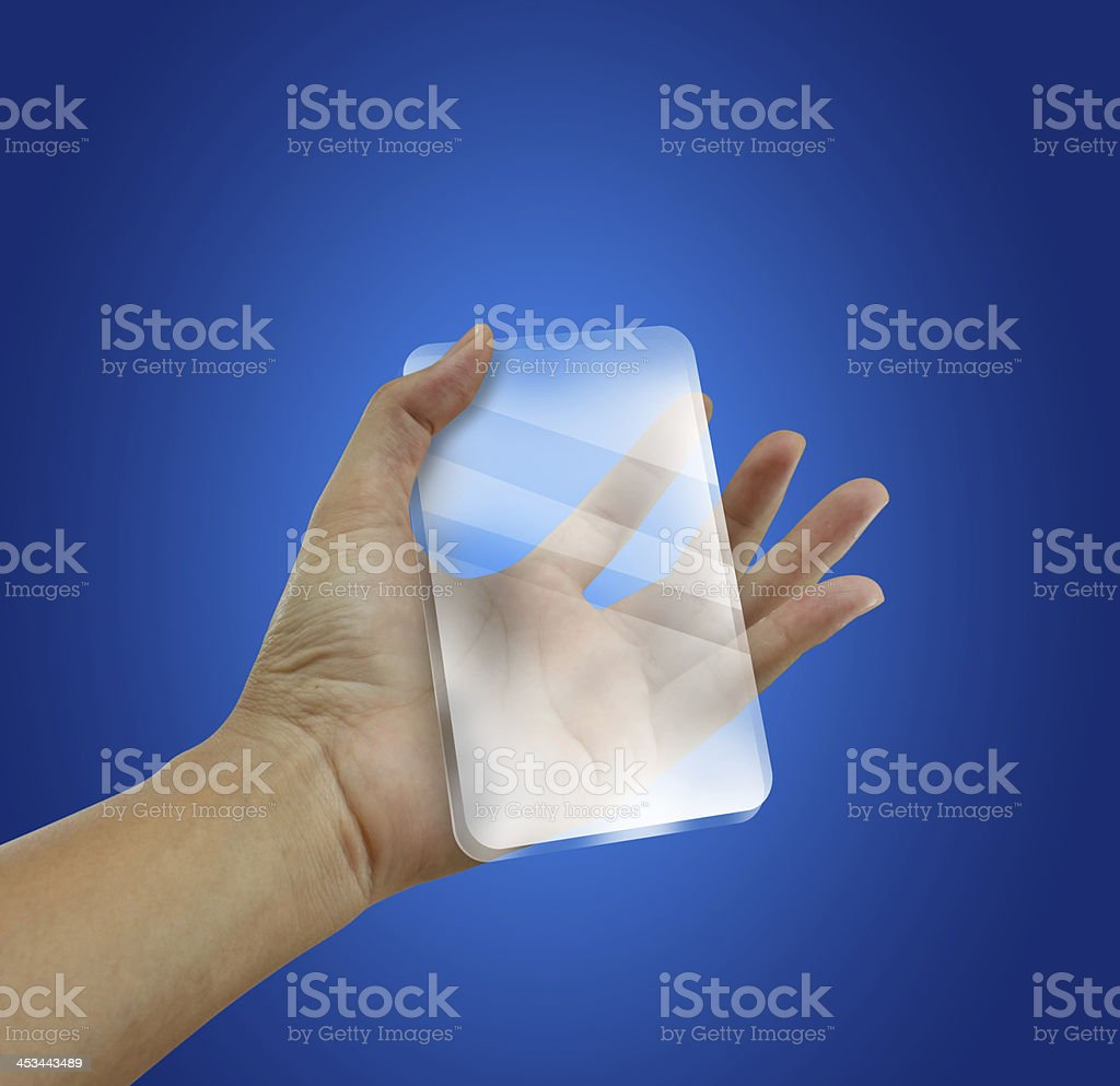 Transparent future mobile phone in hands. Concept. royalty-free stock photo