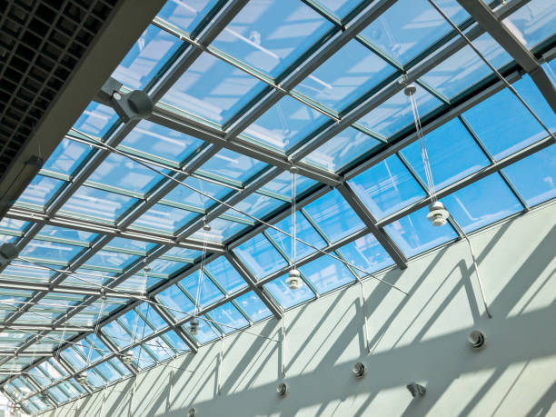 transparent glass ceiling of the modern building stock photo