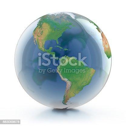 817002182 istock photo transparent globe 3d illustration 883069678