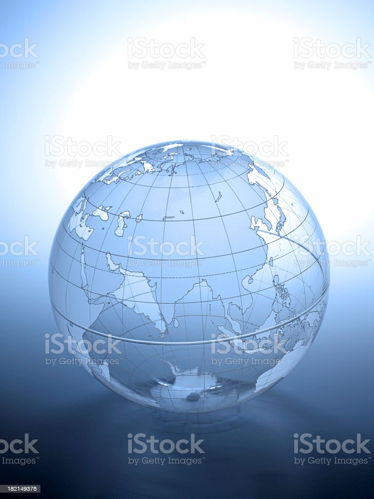 Transparent globe rotated to show Asian continent royalty-free stock photo