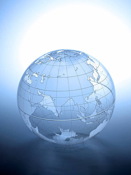 Transparent globe rotated to show Asian continent stock photo
