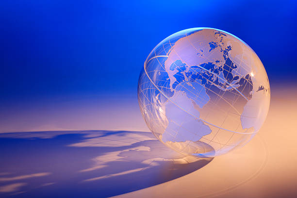 Transparent globe showing North America stock photo