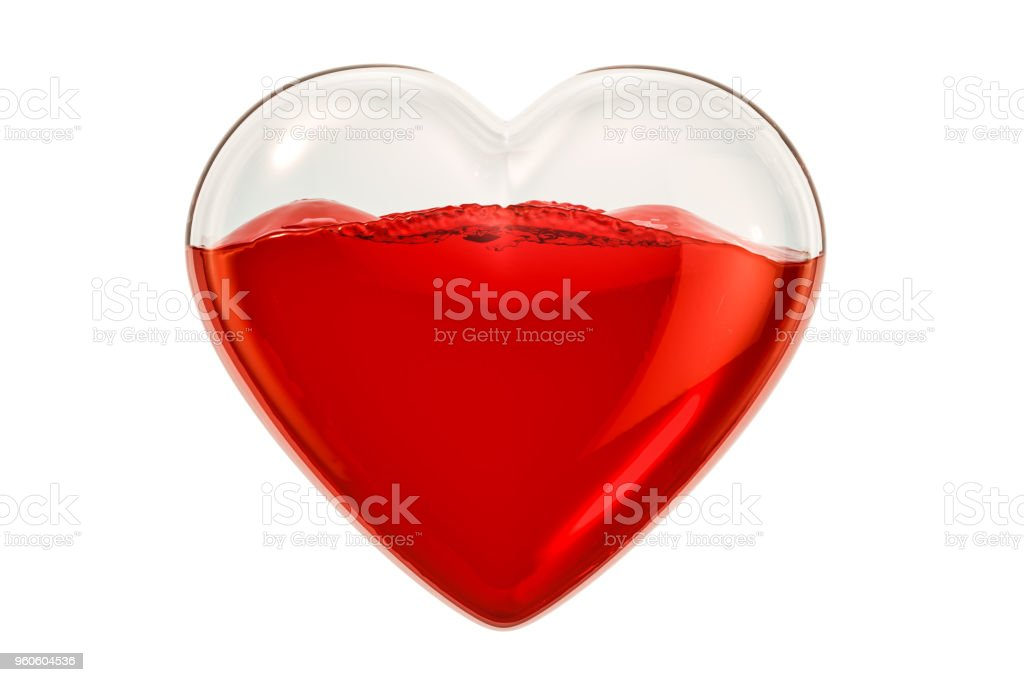 Transparent heart with blood inside. World blood donor day concept, 3D rendering stock photo