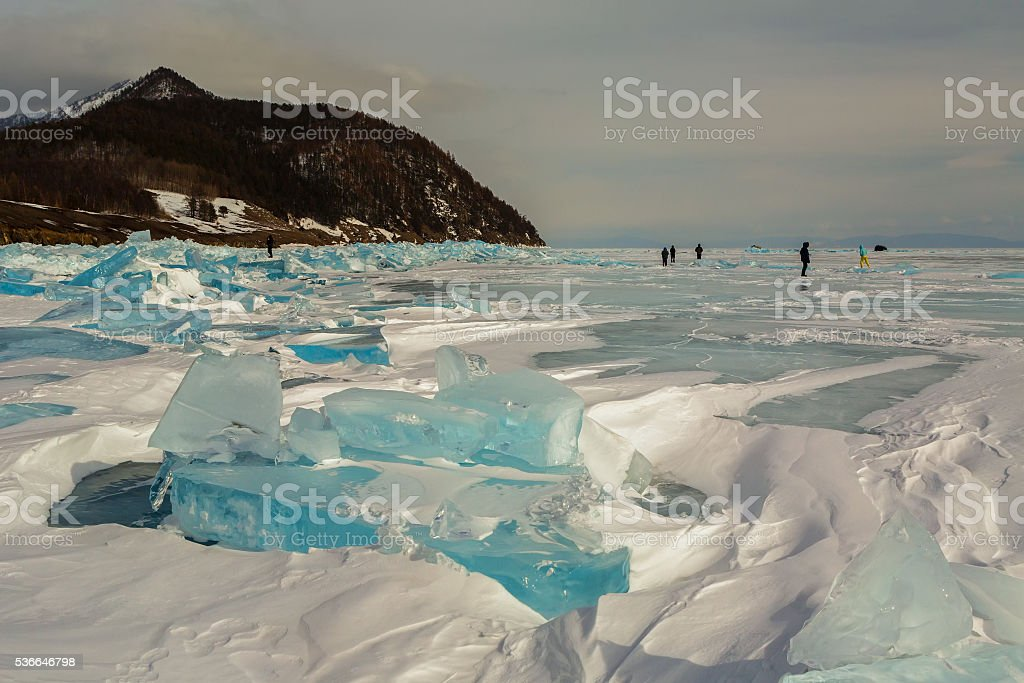 Transparent ice near the Holy Nose Peninsula. stock photo