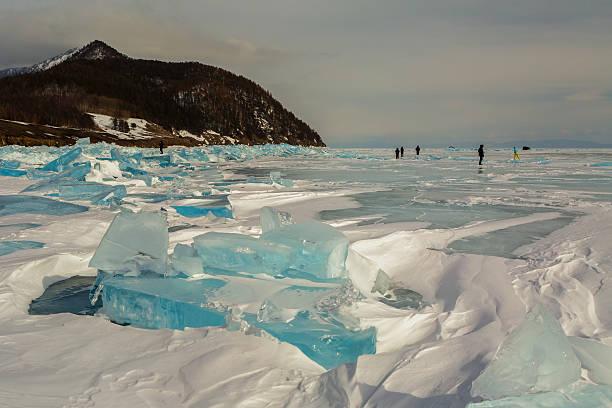 Transparent ice near the Holy Nose Peninsula. stock photo