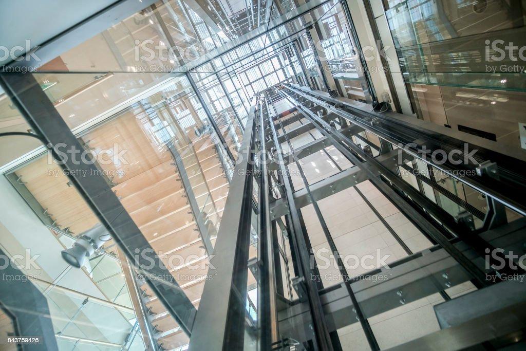 B timent en verre transparent ascenseur ascenseur moderne arbre