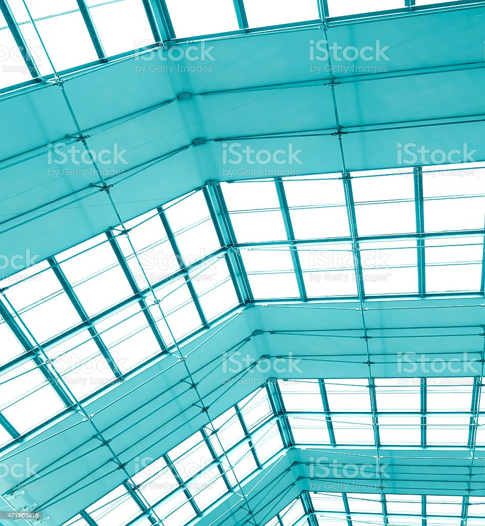 transparent light ceiling inside shopping mall stock photo
