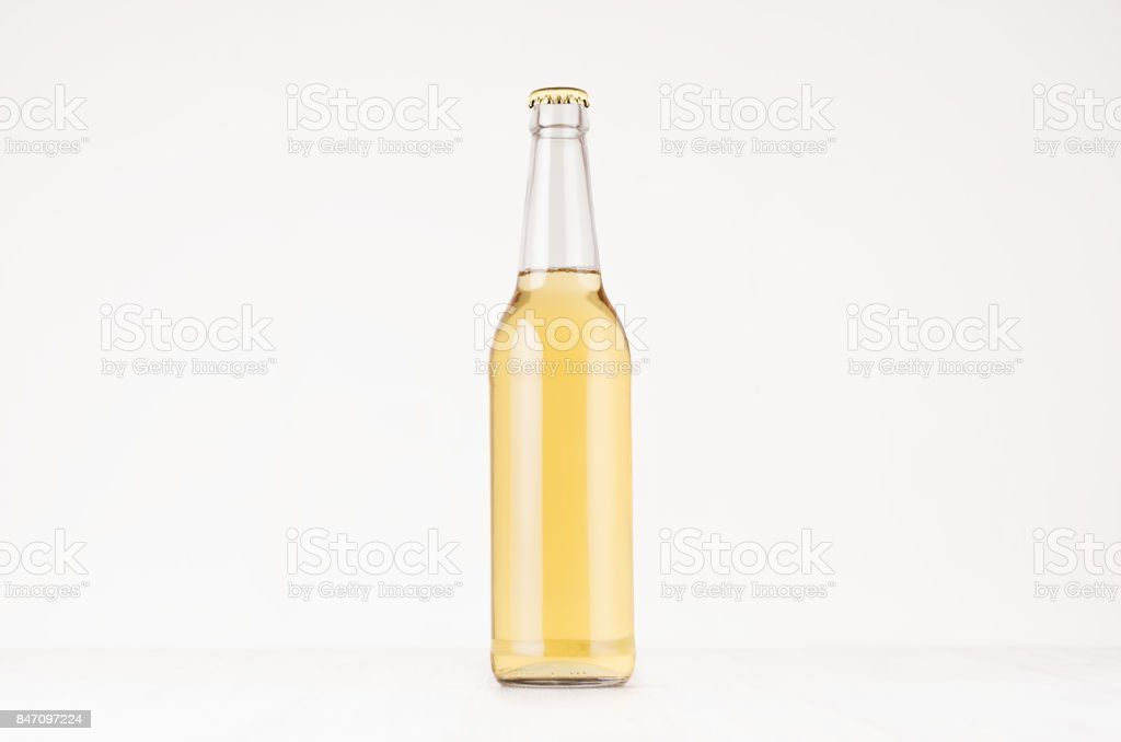 Transparent longneck beer bottle 500ml with lager, mock up. stock photo