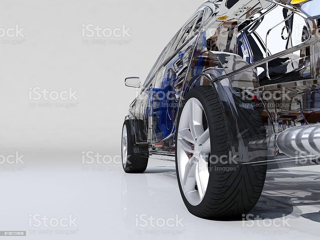 Transparent model cars. stock photo