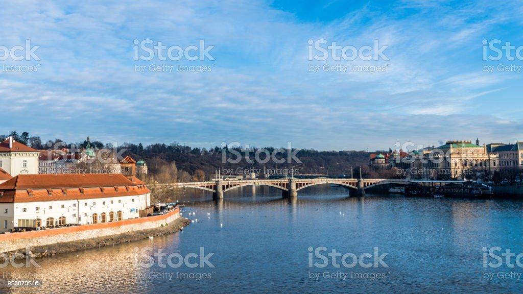 Transparent morning sky above the Vltava river stock photo