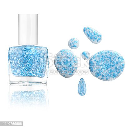 Transparent nail polish blot and bottle with decorating blue and white particles, isolated on white background, clipping path included