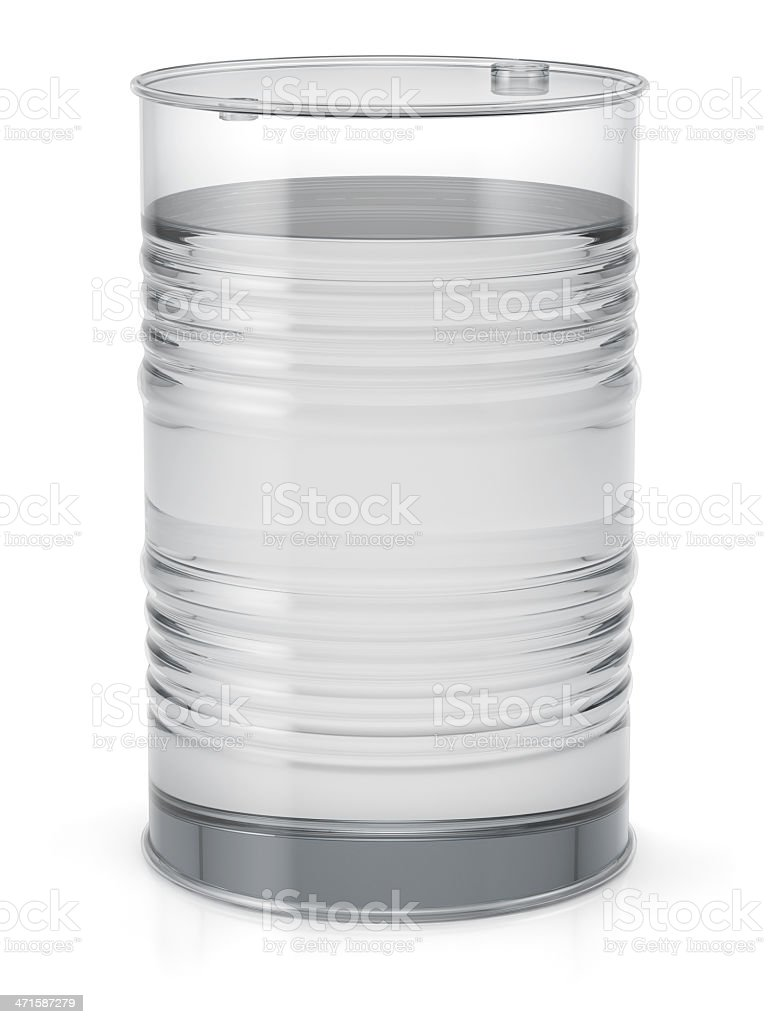 Transparent oil barrel with a liquid royalty-free stock photo