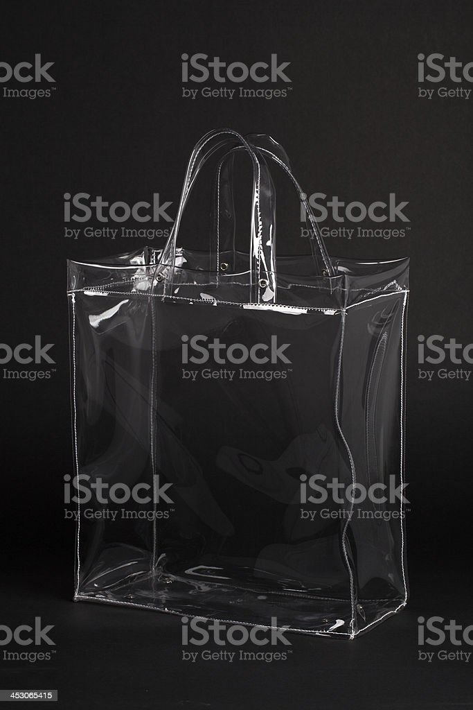 Transparent Plastic Bag on Black stock photo