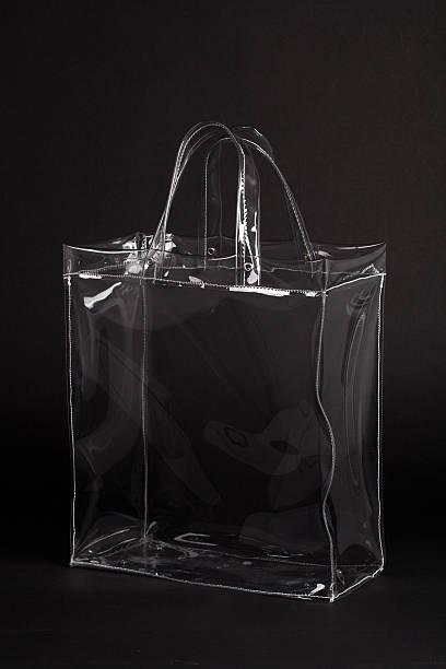 Transparent Plastic Bag on Black stock photo