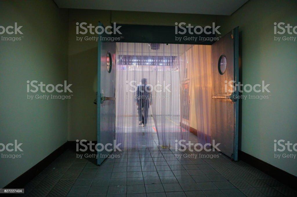 Transparent Plastic Curtain stock photo