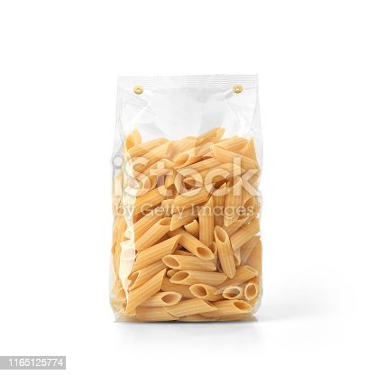 Packaging template mockup collection. With clipping Path included. Stand-up Front view. Penne Rigate shape