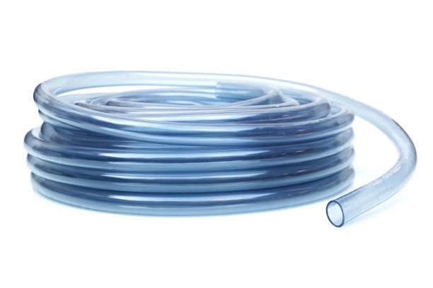 Transparent plastic water hose stock photo