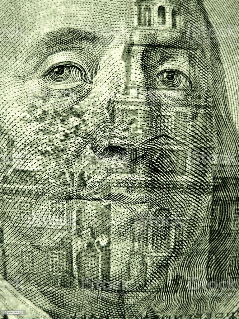 Transparent Portrait of Benjamin Franklin royalty-free stock photo